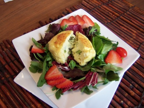 Asparagus and Goat Cheese Soufflés on a Bed of Mixed Greens
