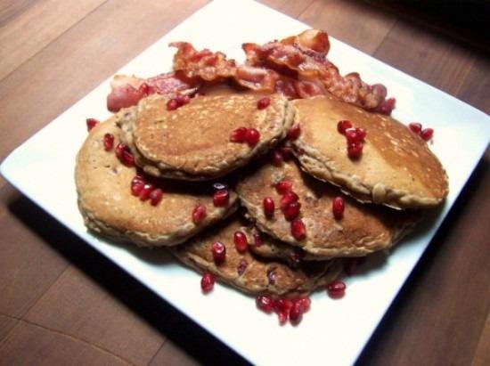 Oatmeal Pomegranate Pancakes