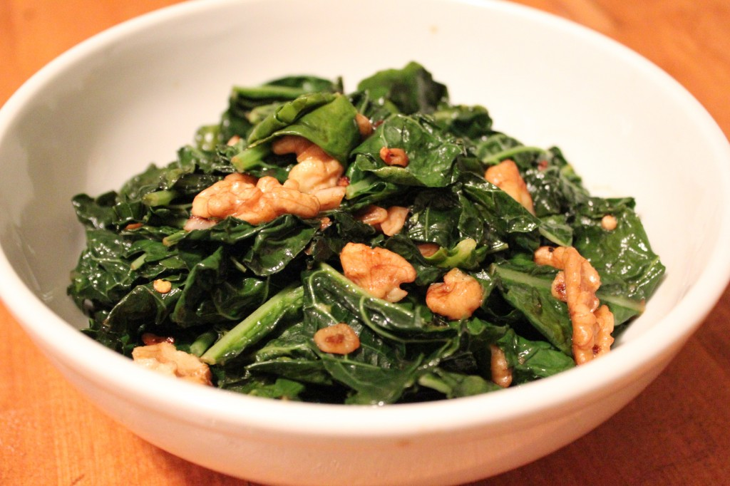 Kale with Sauteed Walnuts and Garlic