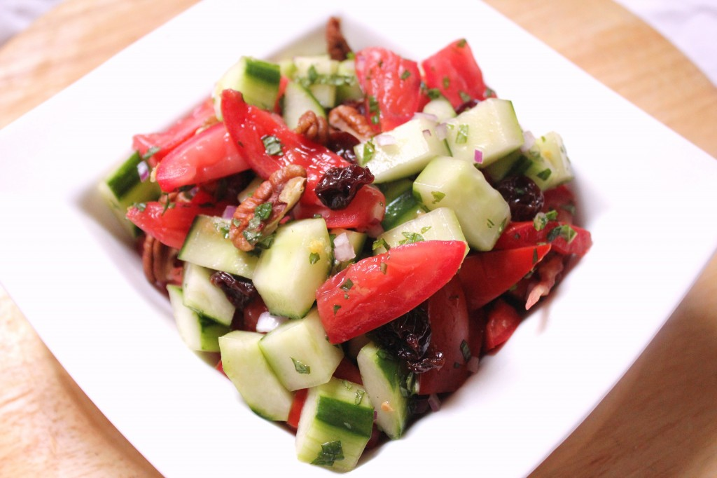 Vegan Cucumber and Tomato Salad with Mint and Lemon Dressing