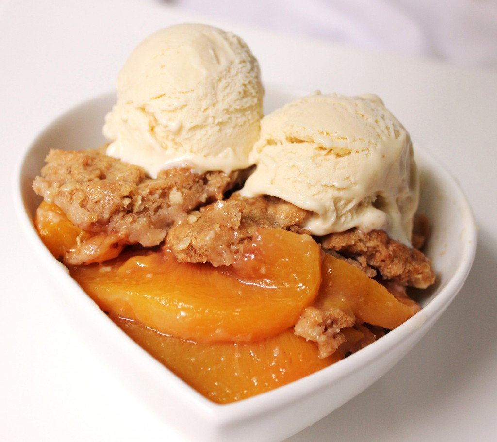Peach and Ginger Crisp with Ginger Ice Cream