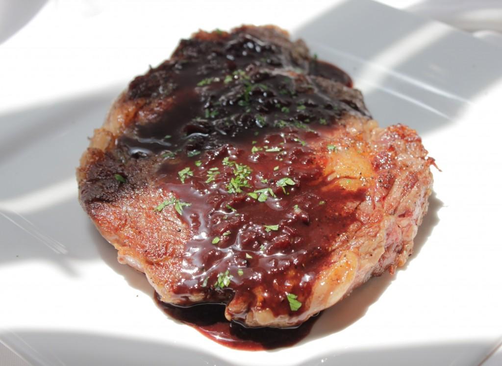 Boneless Rib Eye Steak with Red Wine Reduction