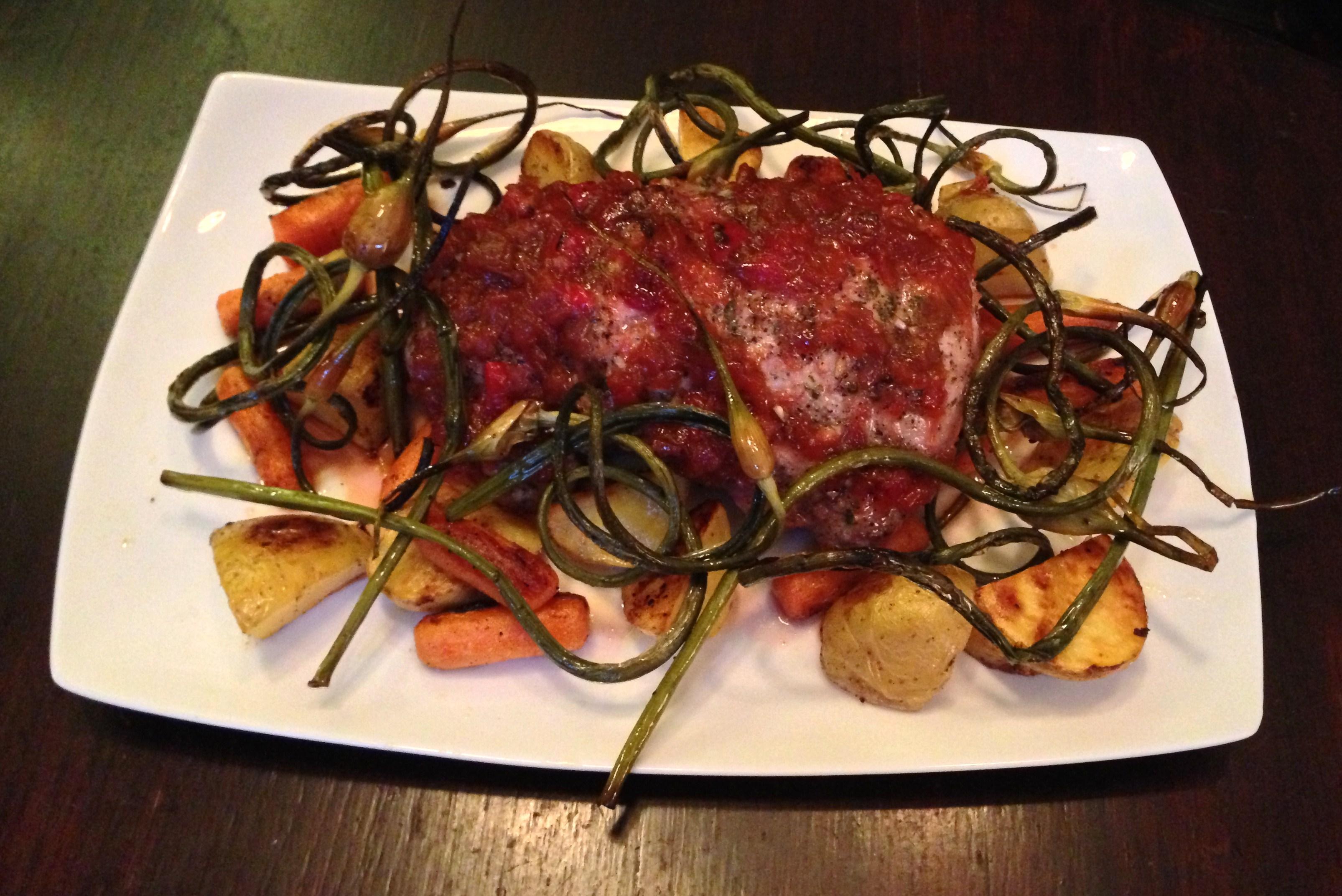 Roast Pork with Strawberry Rhubarb Compote