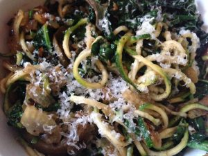Zucchini Pasta with Sauteed Mushrooms, Onions, Kale and Truffles