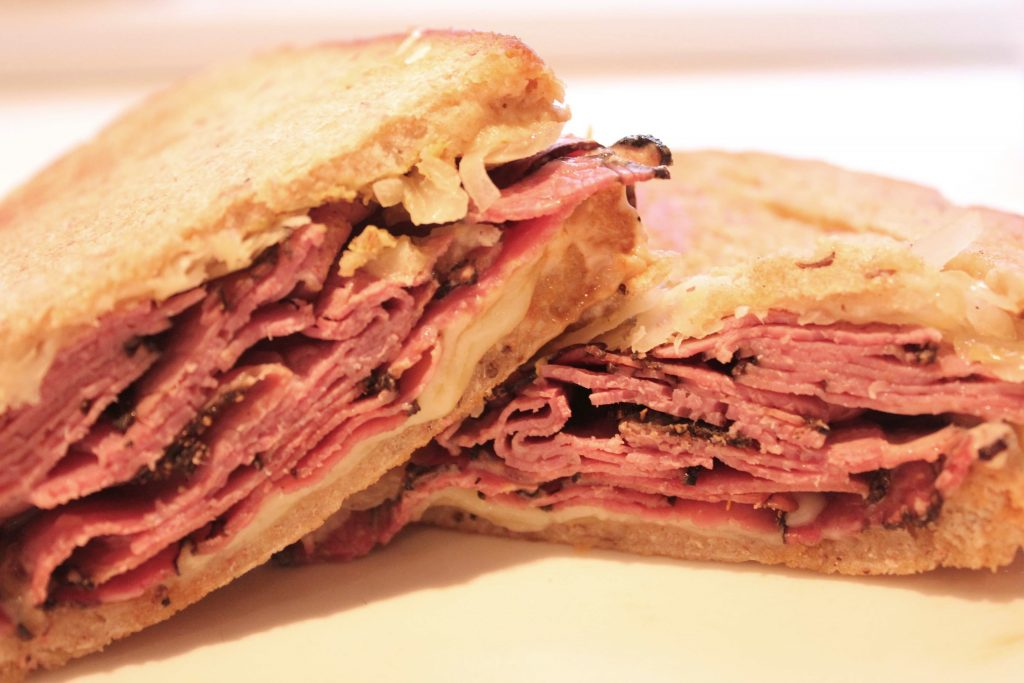 Reuben Sandwich on Homemade Rye Bread