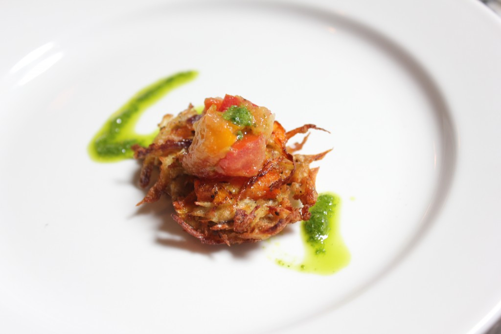 Carrot Parsnip Nests with Cardamom Salsa