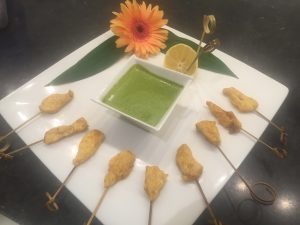 chicken satays with mirin mint dip