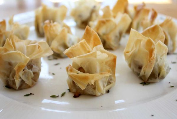 Lily (featuring Filo Parcels stuffed with Mushrooms, Leeks, and Aged Gruyere)