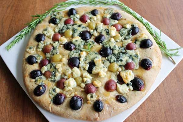 A List of Nouns (featuring Thick/Flatbread with Rosemary, Grapes, and Blue Cheese)