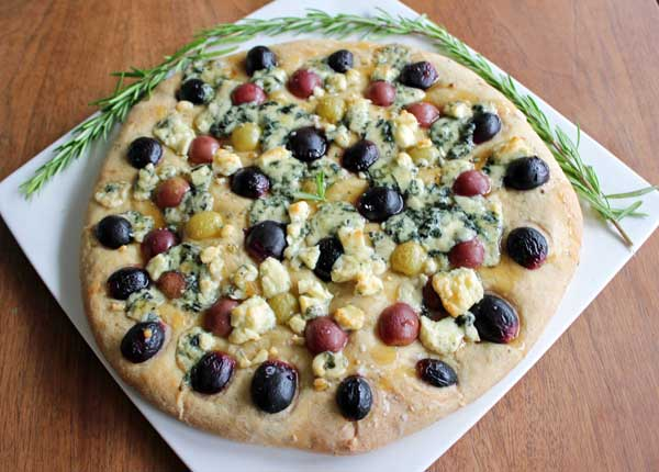 Thick/Flatbread with Rosemary, Grapes, and Blue Cheese