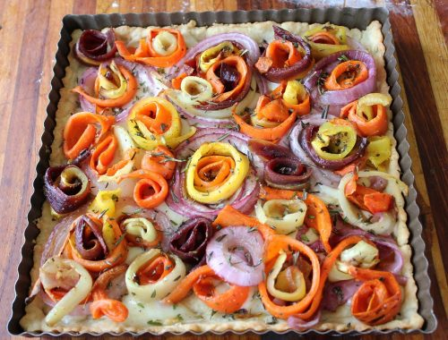 Tea Cozy (featuring Roasted Carrot and Onion Fontina Tart)
