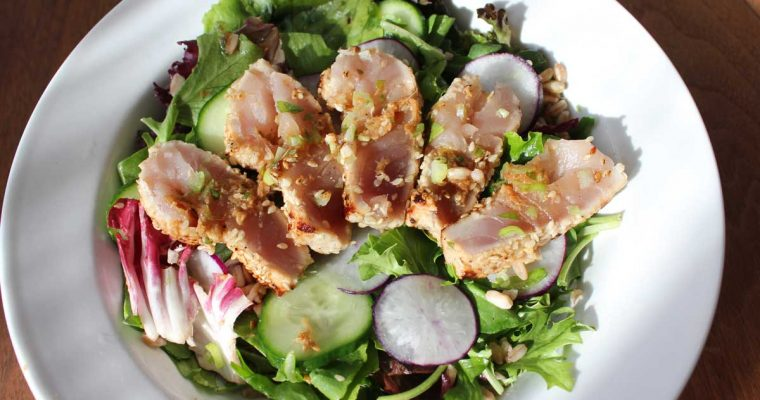 Amnesia (featuring Seared Tuna on a bed of Greens with Ginger Sesame Dressing and Farro)