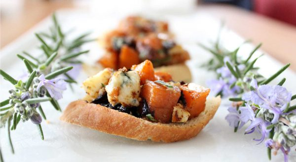 Dinner for two (featuring Butternut Squash and Blue Cheese Crostini)