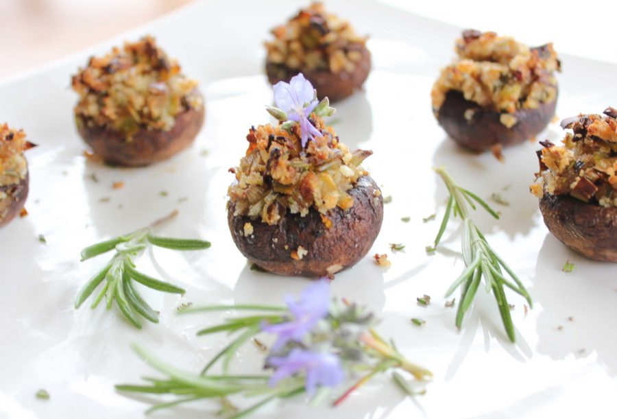 Nooch Night (featuring Gluten-Free Vegan Stuffed Mushrooms with Rosemary and Garlic)