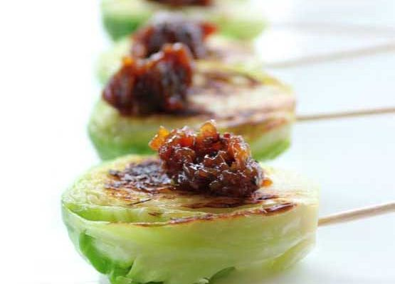 The Toes Knows (featuring Brussels Sprout Skewers with Bacon Jam)